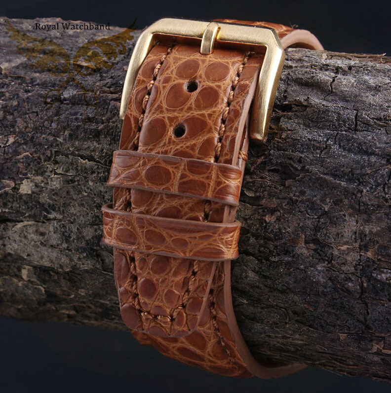 2014 New Style 21mm 22mm Handmade Orange Genuine Alligator Leather Watch Strap Band Brushed Gold Stainless Steel Clasp Buckle