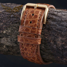 2014 New Style 21mm 22mm Handmade Orange Genuine Alligator Leather Watch Strap Band Brushed Gold Stainless