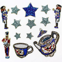 Fashion Embroidery Sequin Patch Set Applique Sew On Clothes Down Jacket Sweater Diy Ornament Accessory