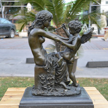 Venus and Cupid statue bronze ornaments crafts European real jewelry gift bar decoration