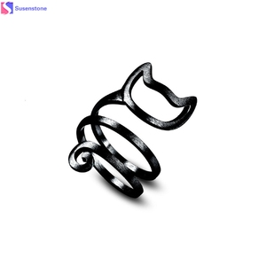 Silver Twine Cute Cat Silver Ring Young Girl Women Jewelry Silver Rings For Women Wrap Finger Ring Adjustable Jewelry Gift #6-7(China)