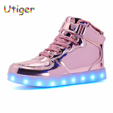 USB Charging Basket Led Children Boy Girl Glowing Shoes With Light Up Kids Boys Girls Luminous Sneakers Child Shoes enfant