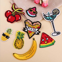 DOUBLEHEE 8PCS Choose Food Fruit Patches Embroidered Iron On Patch For Clothing Sticker Paste Clothes Bag Pants