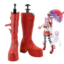 NEW Arrival One Piece Perona Anime lolita punk Cosplay Red Boots Ladies Shoes