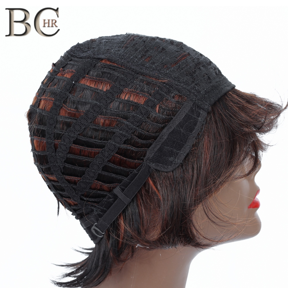 BCHR Synthetic Short Straight Hair Wigs For Women Brown Wig Short Bob Wigs High Temperature Fiber in Synthetic None Lace Wigs from Hair Extensions Wigs