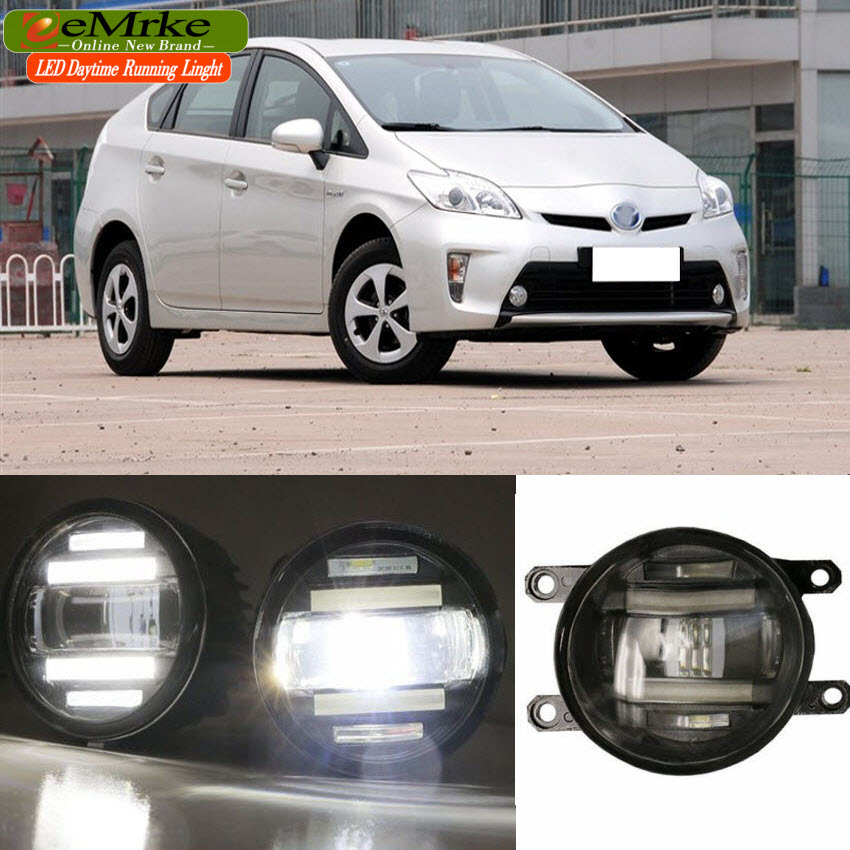 eeMrke Xenon White High Power 2in1 LED DRL Projector Fog Lamp With Lens For Toyota Prius XW30 2009-2015 eemrke xenon white high power 2 in 1 led drl projector fog lamp with lens daytime running lights for renault kangoo 2 2008 2015
