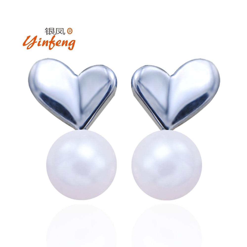 100% Genuine Pearl Earrings For Women High Quality 925 Sterling Silver Love  Heart Stud Earrings