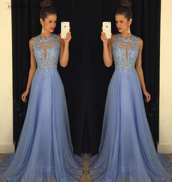 Lavender Beaded Lace   Evening     Dresses   Floor Length 2019 A Line Chiffon Sheer Formal Prom   Dress   Women Party Gowns Robe De Soiree