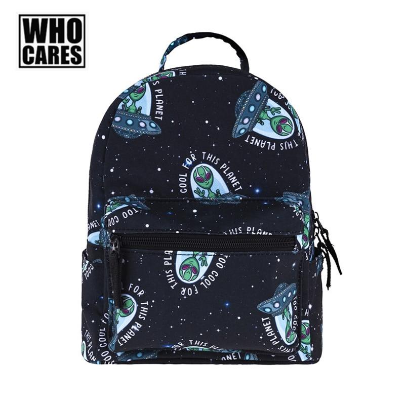 Mini Backpack Girls Cartoon Cool Alien Pattern Printed Soft Handle Softback Internal Pocket School Bag Women Travel Storage Bags