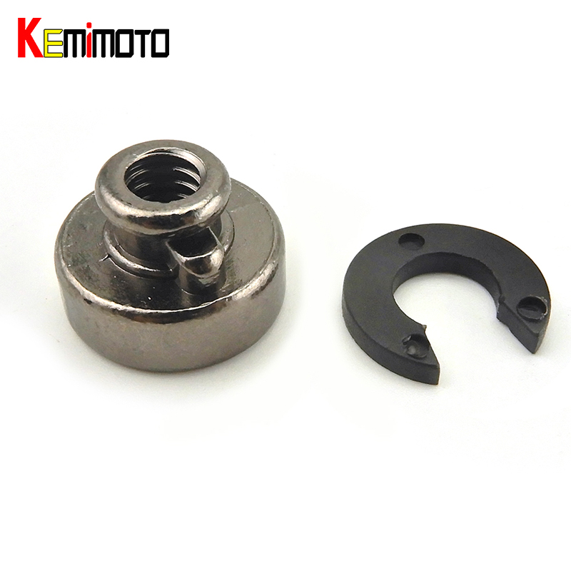 KEMiMOTO Motorcycle Fender Seat Nut 14'' Knurled Seat Screw Bolt + Seat Tab Mount for Harley Sportster Dyna Roadking Softail