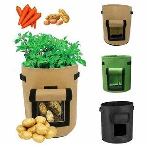 Image 2 - 7 갤런 직물 토마토 감자 성장 가방 꽃 야채 재배자 가방 홈 정원 심기 액세서리 새로운