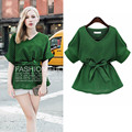 Free Shipping Fashion Plus Size Women Cotton Linen Shirt New Arrival Female Green Half Sleeve Bat Sleeve Bow V-neck Tops Blouses