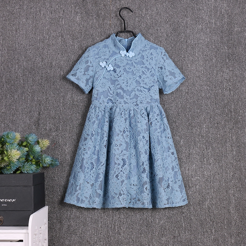 Brand family matching outfits girls party dress mom daughter Improved cheongsam kids clothes mother baby girls summer lace dress winter mother and daughter dress family matching clothes cat print warm thick flannel lining mom infant girls party formal dress