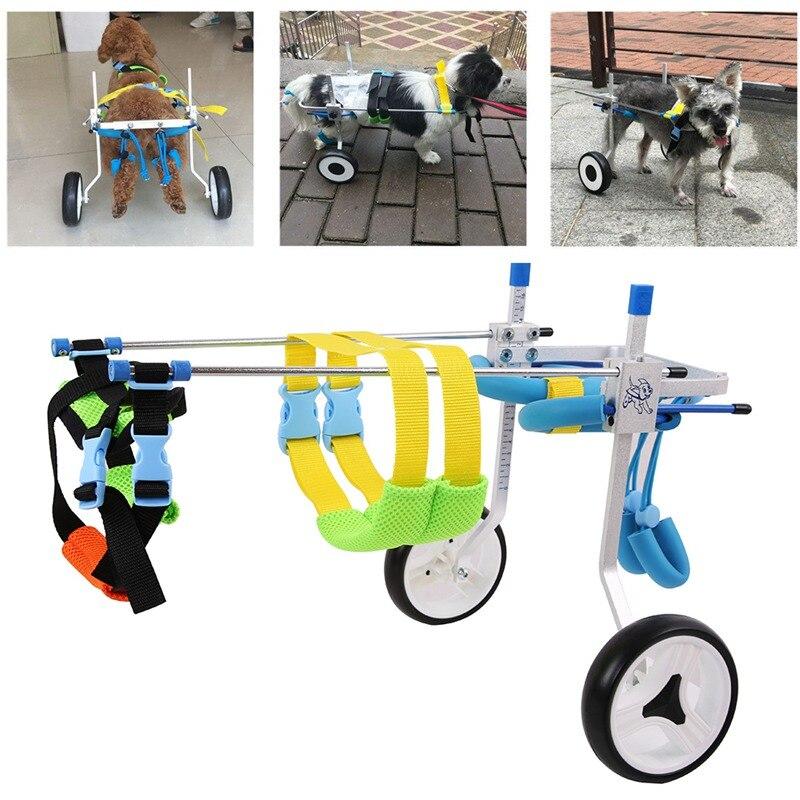 2 roues pour animaux de compagnie fauteuil roulant marche chariot Scooter animal de compagnie chien fauteuil roulant pour handicapé jambe arrière réglable Durable XXS XS pour 3-15kg Pet
