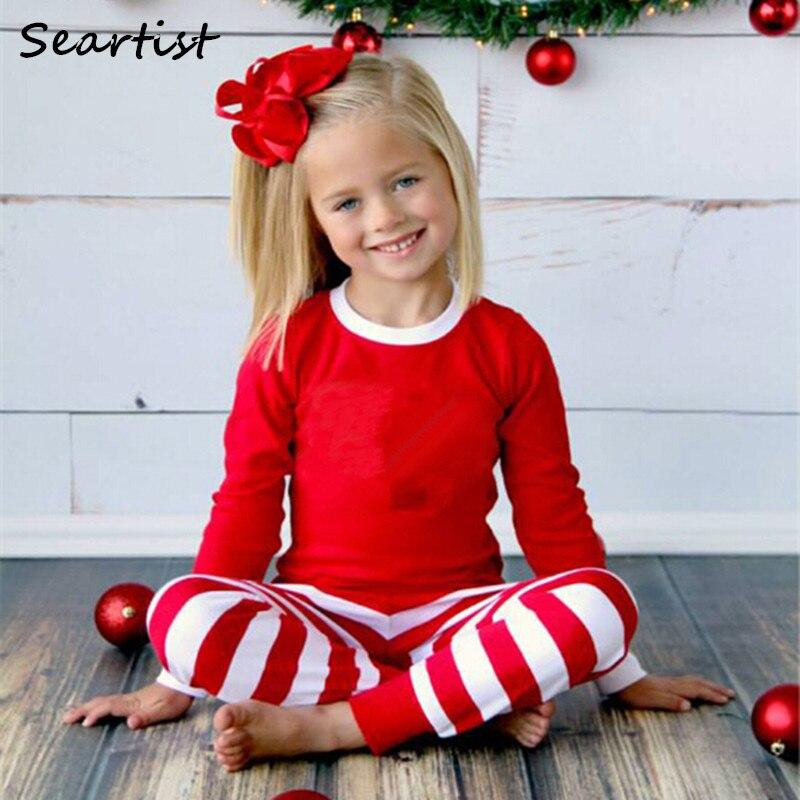 seartist baby girls boys christmas pajamas set children striped xmas pjs kids clothing set family christmas suit 2018 new 40g