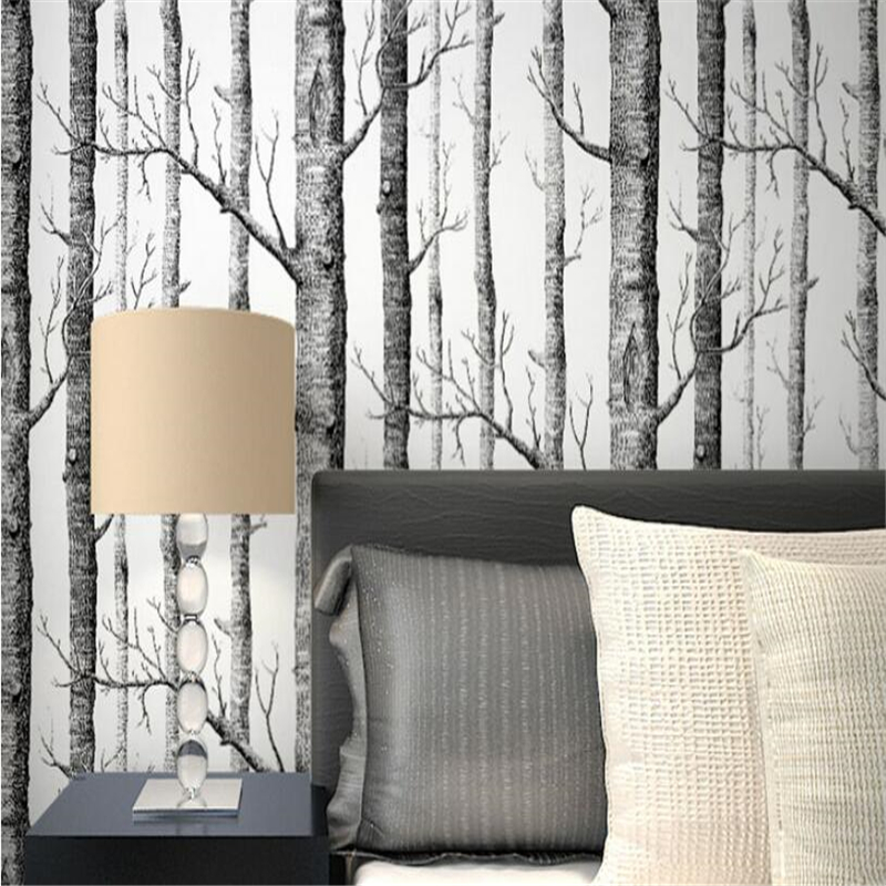 beibehang Abstract black and white branches nonwoven wallpaper Nordic branch trunks birch forest television sofa backdrop beibehang abstract black and white branches non woven wallpaper tree trunk tree birch forest background wall papel de parede