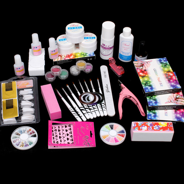 Pro 27in1 Nail Art Brush Glue Glitter Powder Top Coat UV Gel Decorations Tools Set #29set
