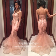 Gorgeous Strapless Neck Off The Shoulder Appliques Tulle Pink Mermaid Long Prom Dresses 2017