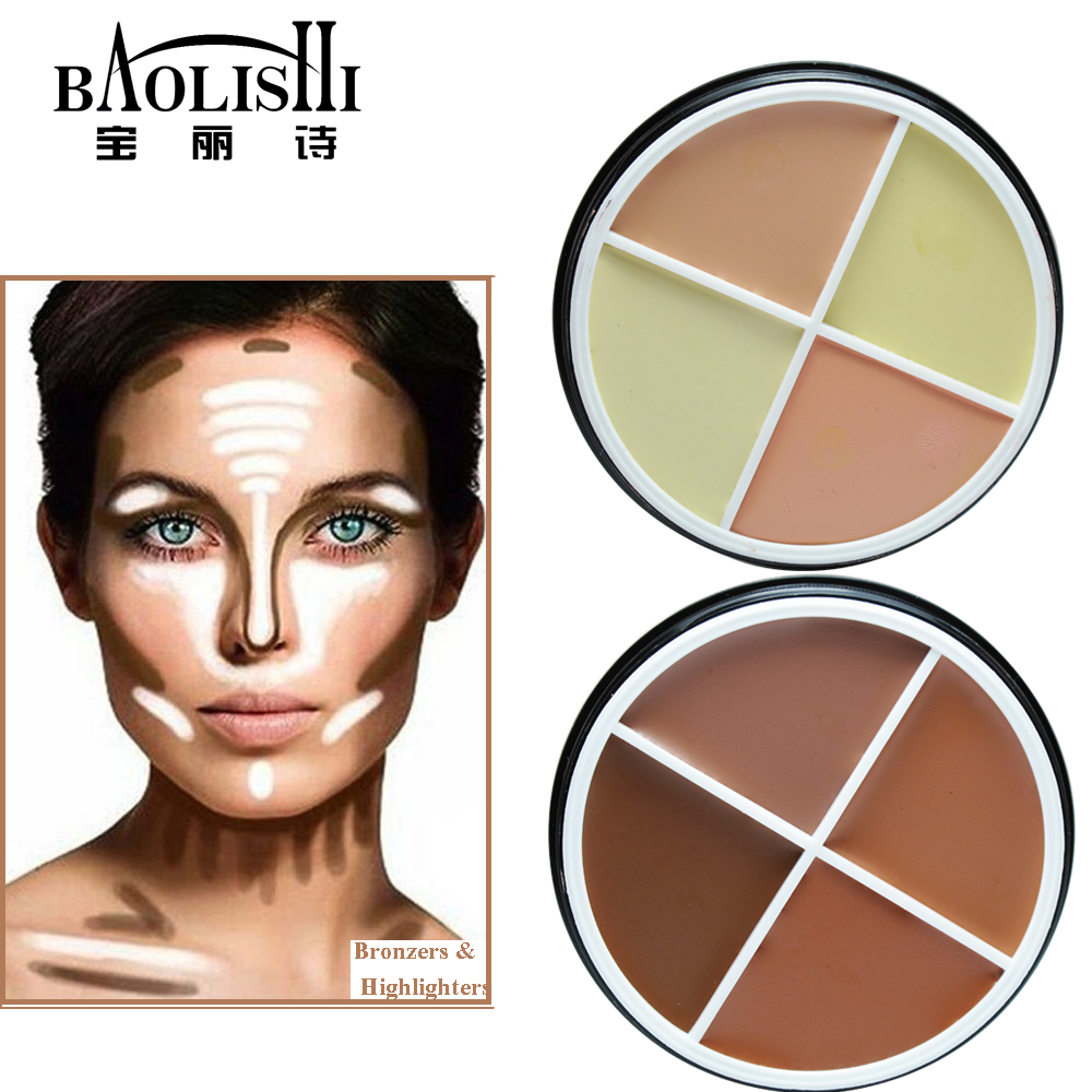 baolishi Waterproof Matte Bronzer highlighter Brightening font b Concealer b font Powder glow kit Markers for