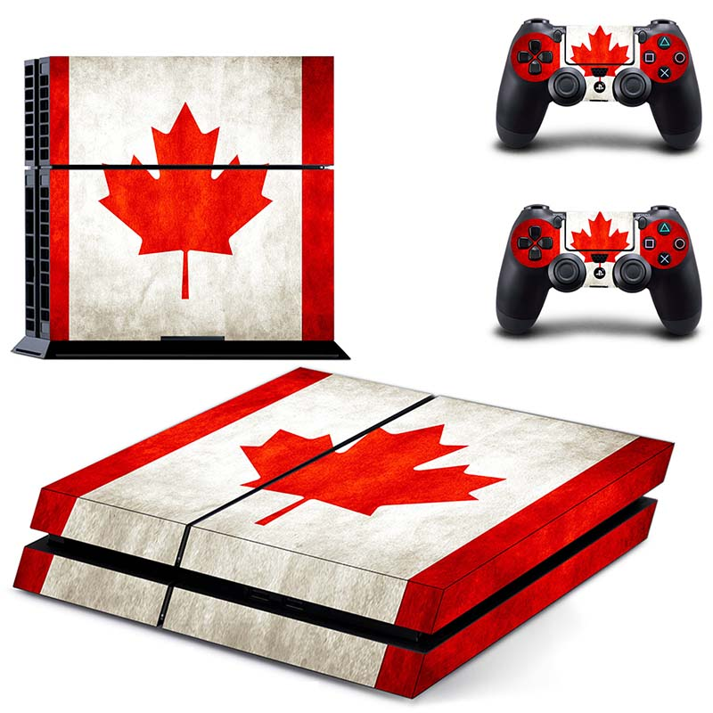 HOMEREALLY PS4 Skin Classic Canadian Flag Design PVC HD Sticker For Sony Playstation 4 Console and Controller Protection Skin