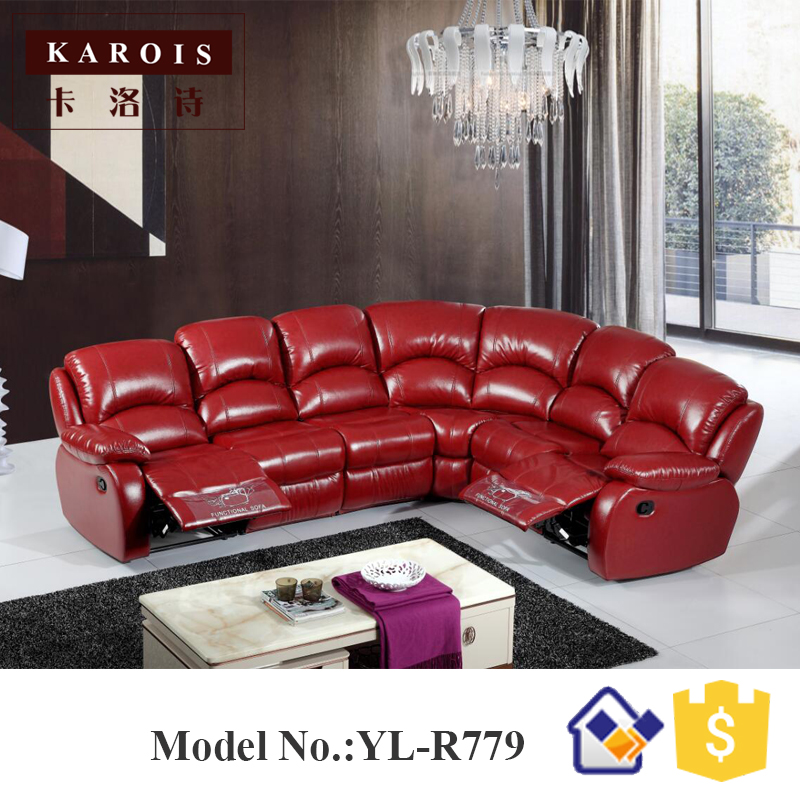 Foshan Furniture Factory Drawing Room Red Color Electric Leather Recliner Sofa  Set R779