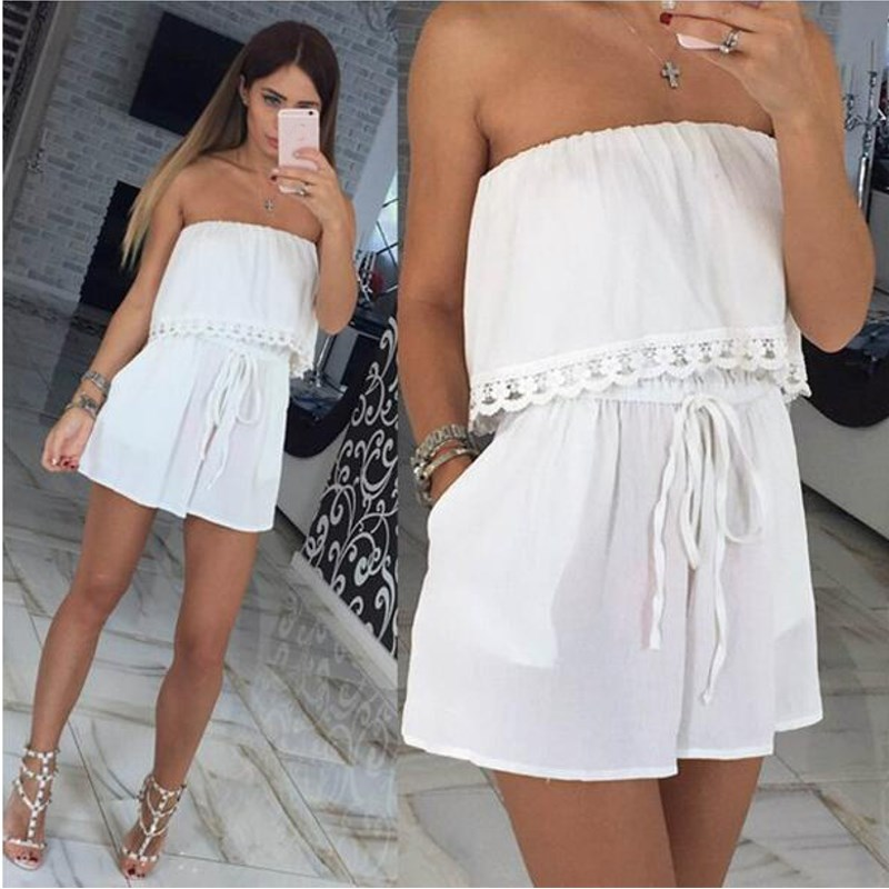 433c0327796 Summer Elegant Female Playsuit Strapless Off Shoulder Plain Shorts Romper  Pants Suits For Women Party Casual Jumpsuit Overalls-in Rompers from  Women s ...