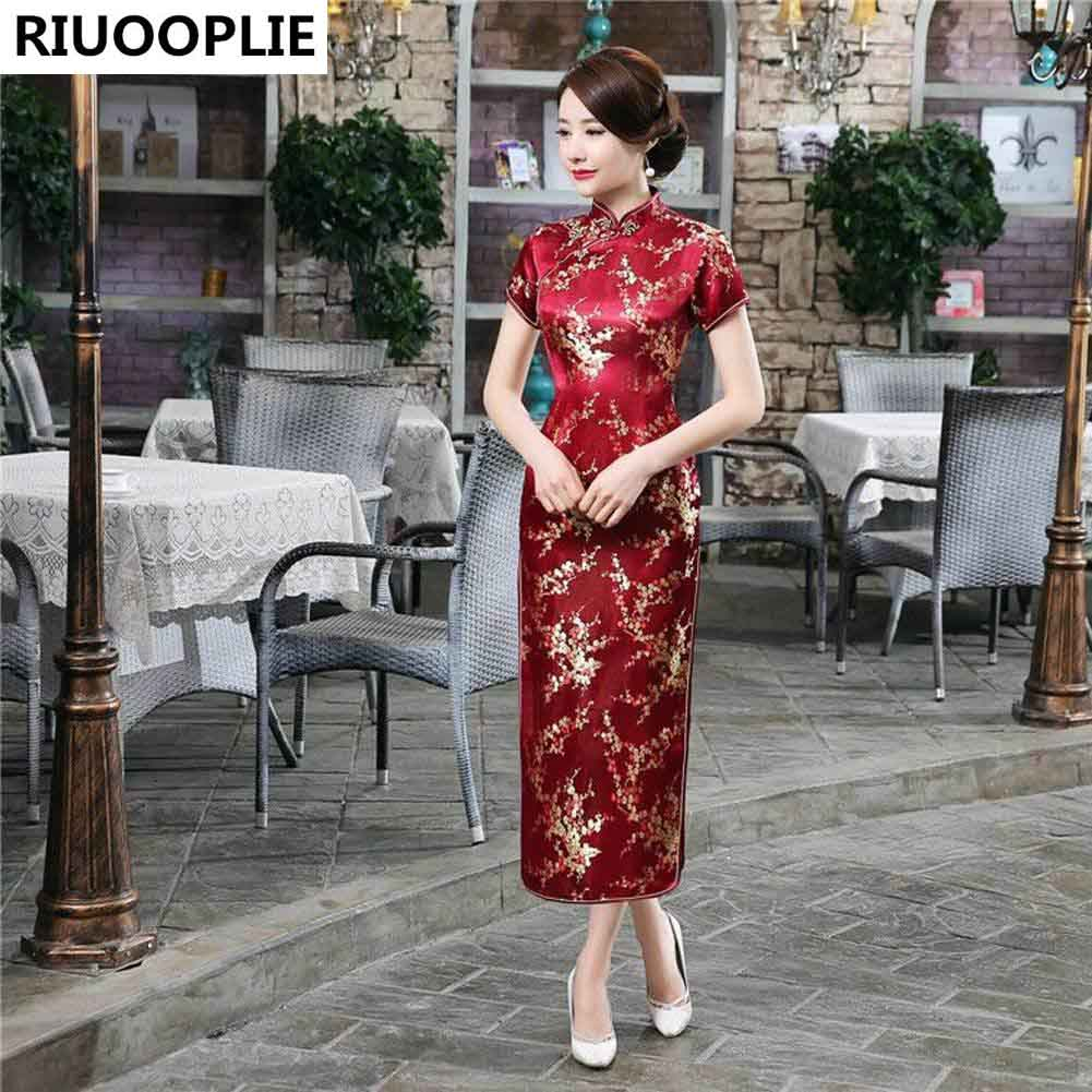 RIUOOPLIE Style Chinois Traditionnel Robe Femmes Long Cheongsam - Vêtements nationaux - Photo 3