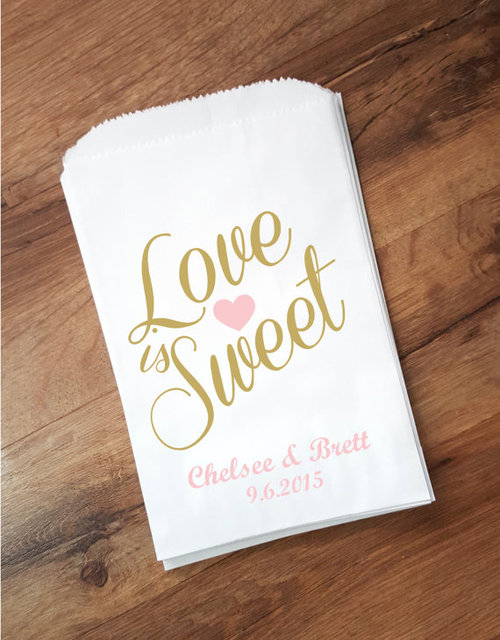 de4a47dcd843 personalized Love is Sweet Wedding popcorn candy Buffet treat gift bags  BIRTHDAY Bridal baby Shower Bakery