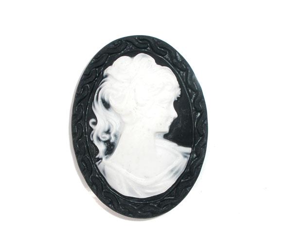 Resin Embellishments Findings Oval Black Beauty Lady Pattern 4.1cm(1 5/8