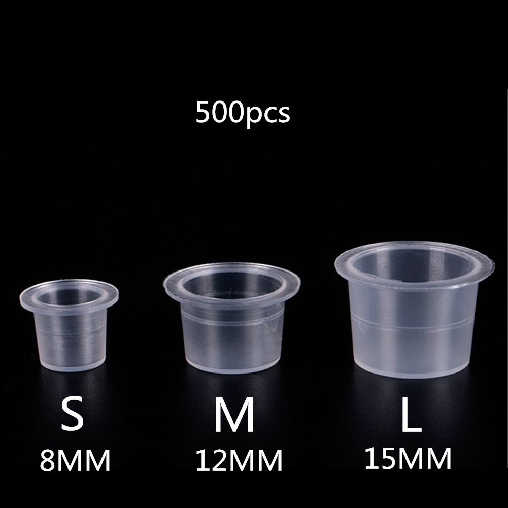 500/1000 PCS Plastic Disposable Microblading Tattoo Ink Cups S/M/L Permanent Makeup Pigment Clear Holder Container Cap