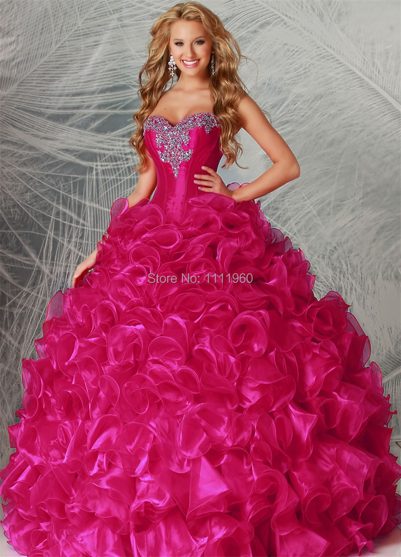 Free Shipping Hot Pink Puffy Quinceanera Dress 2015 Ball -3871