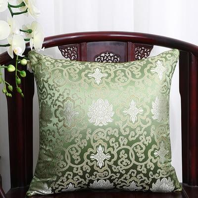 Чехол для подушки для автомобильного стула с цветами 40x40 см 45x45 см 50*50 60*60 китайские красочные диванные Декоративные Чехлы для подушек, шелковая атласная наволочка - Цвет: Зеленый