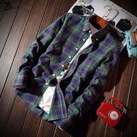 XMY3DWX élégant hommes automne slim fit revers loisirs coton grille chemise à manches longues/Mâle joker revers loisirs d'affaires chemise/taille M-5XL