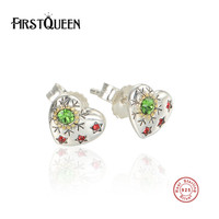 FirstQueen 925 Sterling Silver Christmas Snowflake Stud Earrings Mixed Green CZ Pink Heart Women Engagement