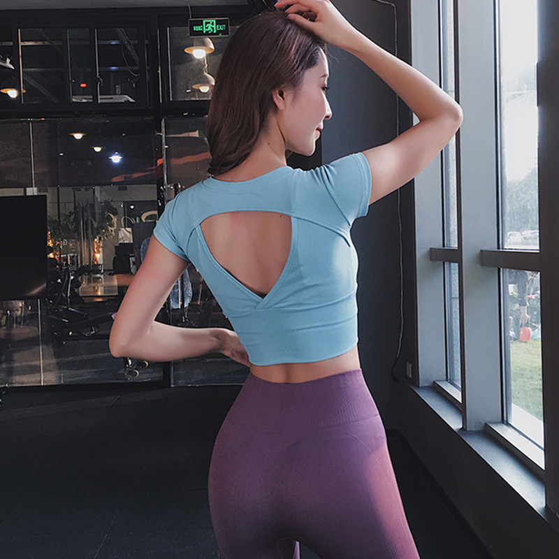 2019 Sexy Backless Cropped Yoga Top Short Sleeve Fitness T Shirt Women Breathable Running Training Sport T-shirt Gym Fitness Top