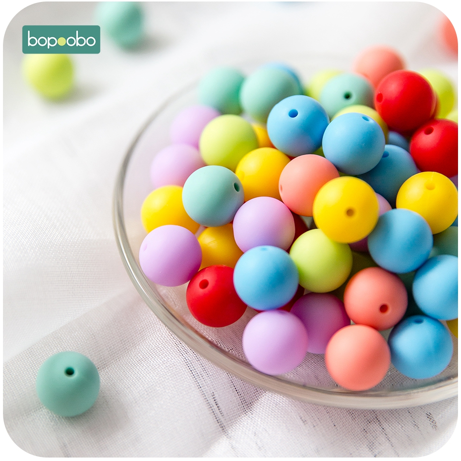 Bopoobo 15mm Silicone Beads BPA Free Food Grade Silicone DIY Crafts Silicone 14mm Octagonal Teething Beads Baby Teethers