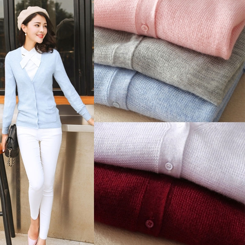 Femme Tricot light Purple Boutons Blue Red V Pink Manches light wine À Ouvert Casual Col Femmes Mince light Pur 2018 Light 100 Pull Printemps Cardigans En Gray Cachemire Piste Cardigan Longues F6qxX