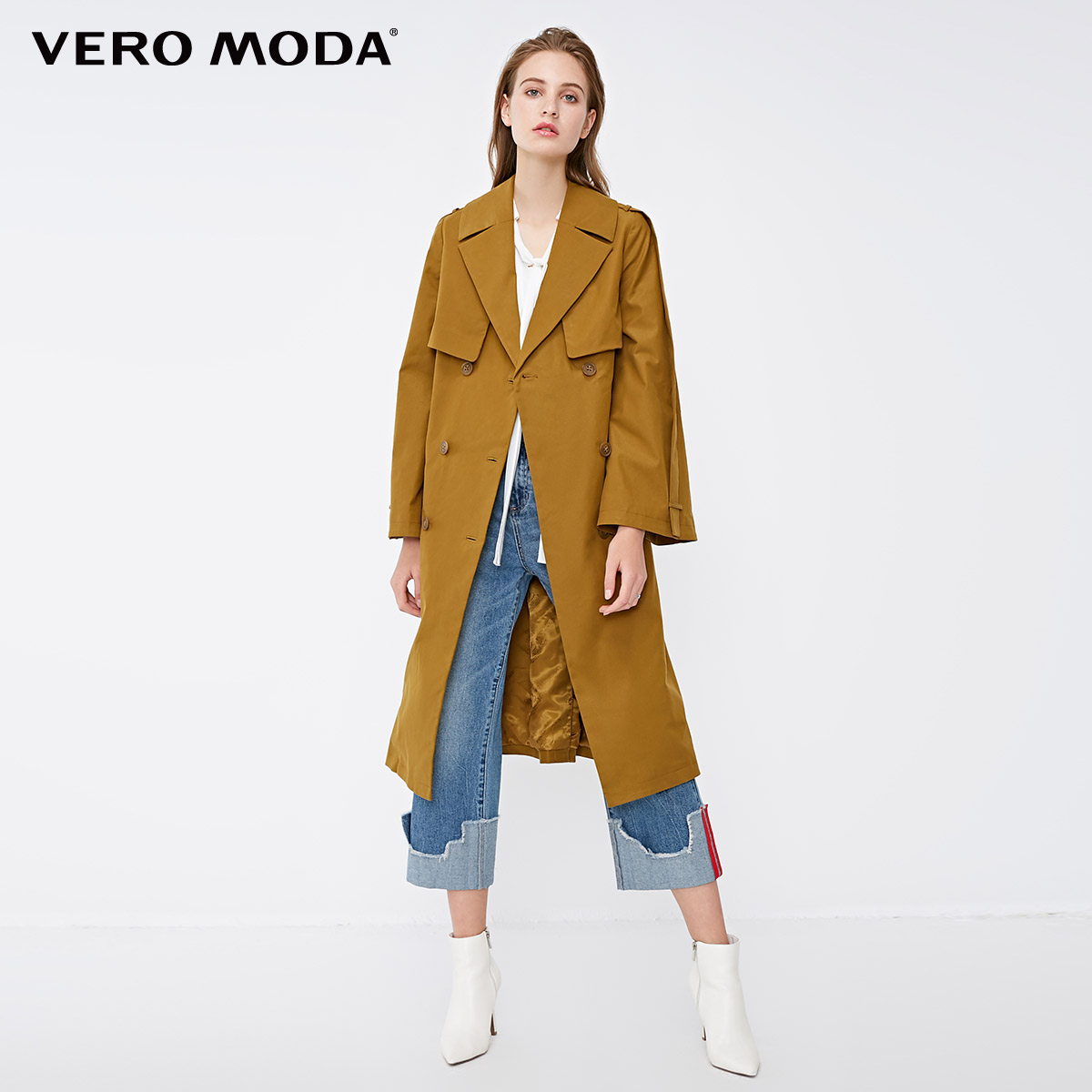 Vero Moda Women's Back Cover Double-breasted Flared Long Minimalist Wind Coat Trench Coat | 318321522