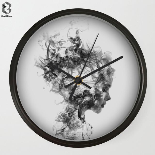 Best Price Artistic Wall Clock Modern Art Wall Clocks Smoke Girl For Bedroom Wall Decor Desk Decorative Mute Quartz Clock Nordic Home Decoration
