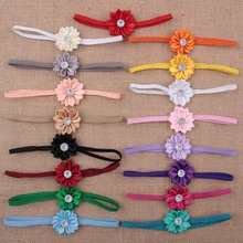 120pcs/lot Wholesale Artificial Satin Ribbon Flowers Headband Girls Elastic Hair band Hair Accessories