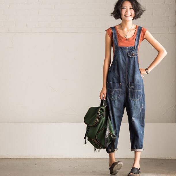 2017 autumn Hole stitching pants pockets loose Denim overalls piece  pants female mori gril