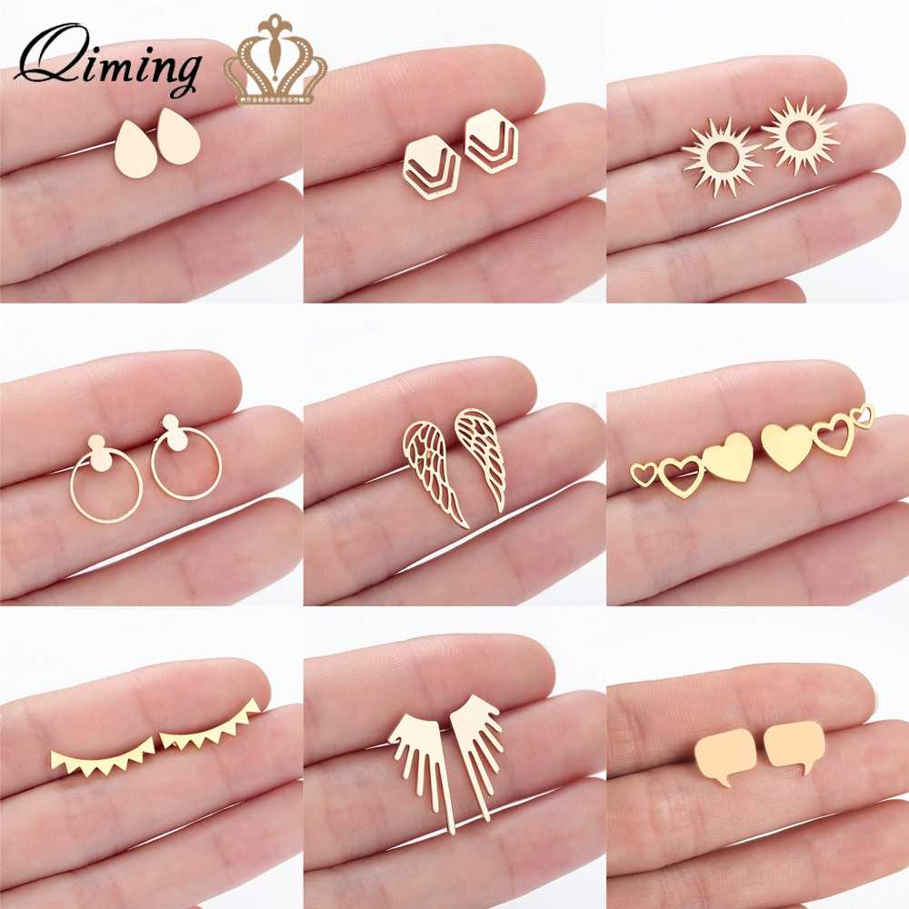 QIMING Stainless Steel Earrings For Women Geometric Hexagon Love Wings Gold Silver Stud Earring Dainty Fashion Everyday Jewelry