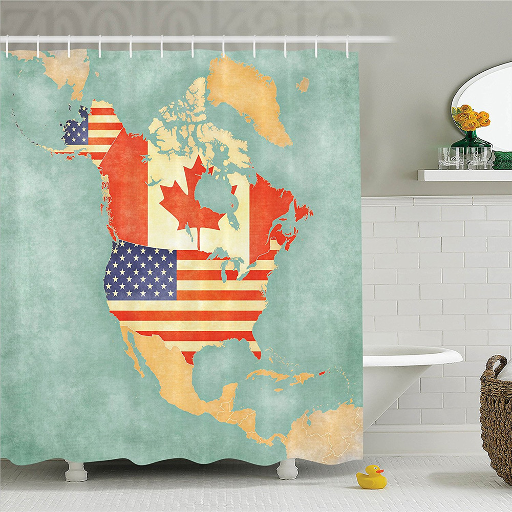 Wanderlust States and Canada Outline Map of the North America in Grunge Stylized Soft Colors Polyester Bathroom Shower Curtain