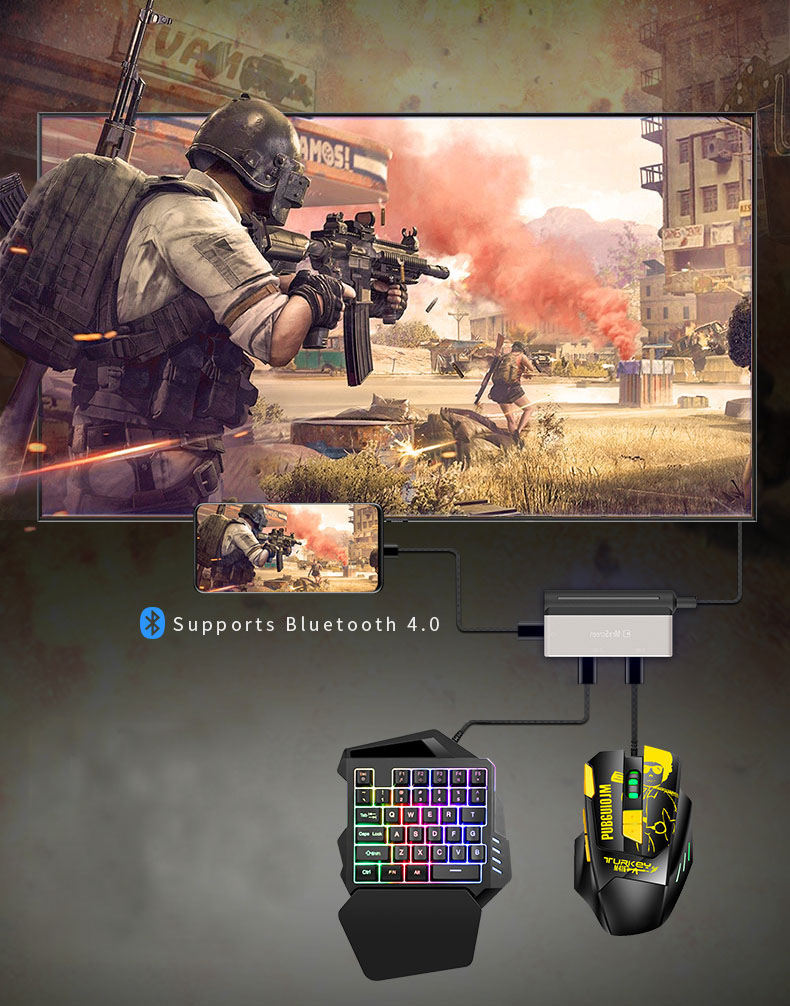 pubg controller gamepad 4K 60hz HDMI Converter Station adapter Aux Keyboard Mouse for phone Games Accessories