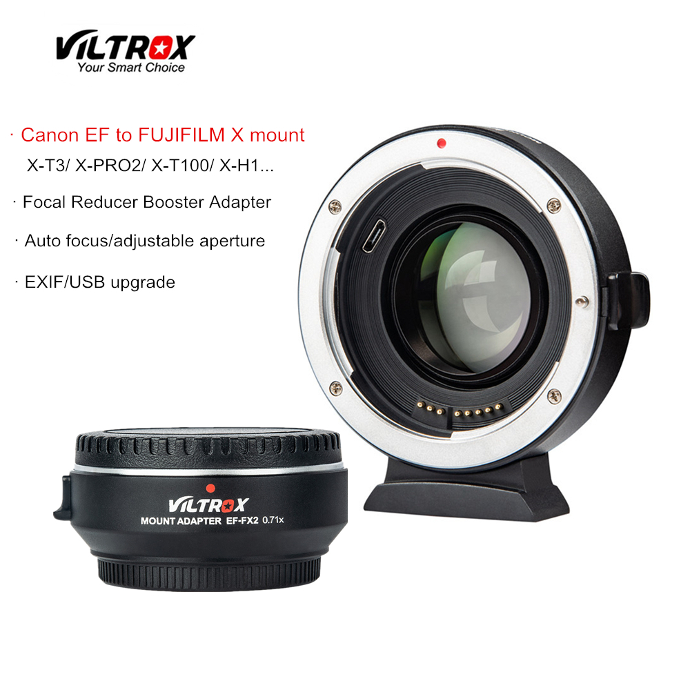 Viltrox EF-FX2 focal redutor booster lente de foco automático adaptador 0.71x para canon ef lente para fujifilm X-T3 X-PRO2 X-T100 X-H1 X-A20