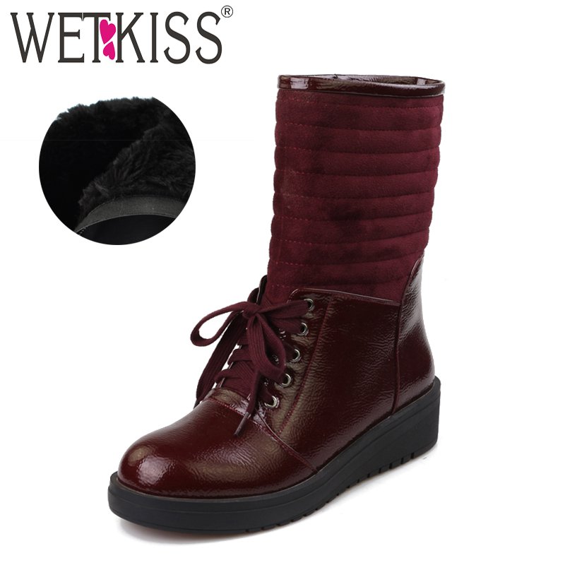 WETKISS Winter Women Mid Calf Boots Pu Cross Tied Footwear Warm Thick Plush Female Snow Boot Round Toe Platform Shoes Woman 2018 цены онлайн