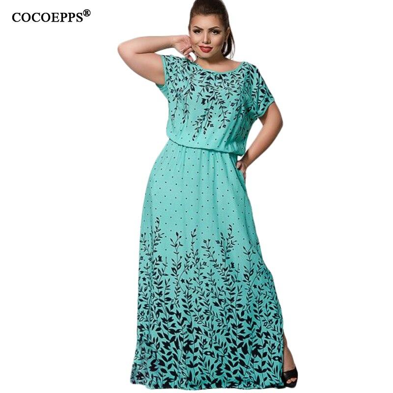 L-6xl cocoepps 2017 mujeres del verano gasa de la impresión larga dress palabra