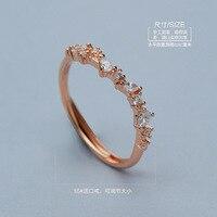 ים כחול אגדה ארוך פרח בצורת הכסף 925 רוז זהב שיבוץ קריסטל טבעת לנשים