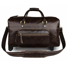 Men's High-End Genuine Leather Luggage Bag Cow Leather Travel Bags Vintage Trolley Luggage Bag Handbag