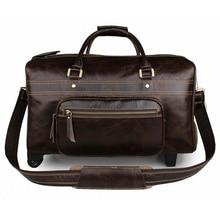 Men's High-End Genuine Leather Luggage Bag Cow Leather Travel Bags Vintage Trolley Luggage Bag Handbag